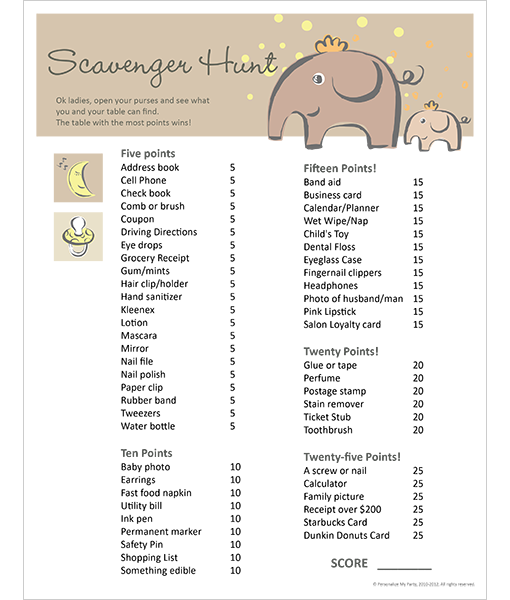 baby shower scavenger hunt personalize my party